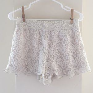 Flowy Off-White Free People Lace Shorts